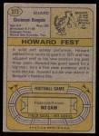 1974 Topps #373  Howard Fest  Back Thumbnail