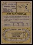1974 Topps #377  Jim Marshall  Back Thumbnail
