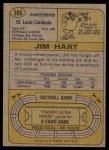 1974 Topps #395  Jim Hart  Back Thumbnail