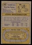 1974 Topps #400  John Brockington  Back Thumbnail