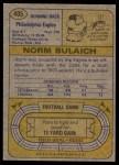 1974 Topps #405  Norm Bulaich  Back Thumbnail