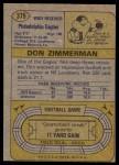 1974 Topps #379  Don Zimmerman  Back Thumbnail