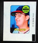 1969 Topps Decals  Don Mincher  Front Thumbnail
