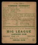 1938 Goudey Heads Up #280  Vernon Kennedy  Back Thumbnail