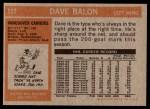 1972 Topps #117  Dave Balon  Back Thumbnail