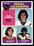 1975 Topps #208   -  Phil Esposito / Guy Lafleur / Rick Martin Goal Leaders Front Thumbnail