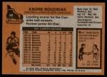 1975 Topps #60  Andre Boudrias   Back Thumbnail