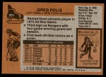 1975 Topps #201  Greg Polis   Back Thumbnail