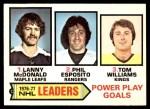 1977 O-Pee-Chee #5   -  Lanny McDonald / Phil Esposito / Tom Williams Power Play Goals Leaders Front Thumbnail
