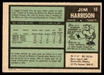 1971 O-Pee-Chee #10  Jim Harrison  Back Thumbnail