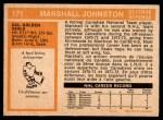 1972 O-Pee-Chee #171  Marshall Johnston  Back Thumbnail