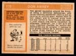 1972 O-Pee-Chee #170  Don Awrey  Back Thumbnail