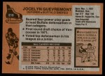 1975 Topps #216  Jocelyn Guevremont   Back Thumbnail