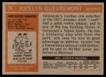 1972 Topps #75  Jocelyn Guevremont  Back Thumbnail