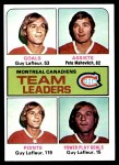 1975 Topps #322   -  Guy Lefleur / Pete Mahovlich Canadiens Leaders Front Thumbnail