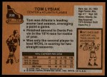 1975 Topps #230  Tom Lysiak   Back Thumbnail