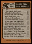 1975 Topps #212   -  Phil Esposito / Rick Martin / Danny Grant Power Play Goal Leaders Back Thumbnail
