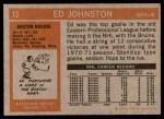 1972 Topps #13  Ed Johnston  Back Thumbnail