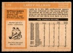 1972 O-Pee-Chee #176  Larry Hillman  Back Thumbnail