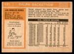 1972 O-Pee-Chee #131  Ralph Backstrom  Back Thumbnail