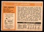 1972 O-Pee-Chee #86  Guy Lapointe  Back Thumbnail