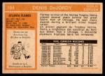 1972 O-Pee-Chee #184  Denis DeJordy  Back Thumbnail