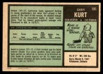 1971 O-Pee-Chee #181  Gary Kurt  Back Thumbnail