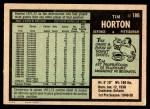 1971 O-Pee-Chee #186  Tim Horton  Back Thumbnail