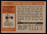1972 Topps #16  Gerry Meehan  Back Thumbnail