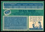 1976 O-Pee-Chee NHL #270  Stan Weir  Back Thumbnail