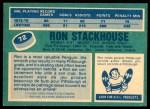 1976 O-Pee-Chee NHL #72  Ron Stackhouse  Back Thumbnail