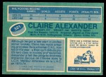 1976 O-Pee-Chee NHL #321  Claire Alexander  Back Thumbnail