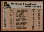 1975 Topps #90   Canadiens Team Checklist Back Thumbnail
