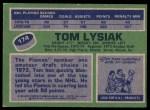 1976 Topps #174  Tom Lysiak  Back Thumbnail