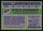 1976 Topps #19  Steve Durbano  Back Thumbnail