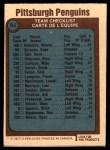 1977 O-Pee-Chee #84   Penguins Team Back Thumbnail