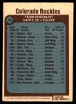 1977 O-Pee-Chee #76   Rockies Team Back Thumbnail