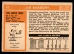1972 O-Pee-Chee #83  Jim McKenny  Back Thumbnail