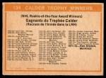 1972 O-Pee-Chee #134   Calder Trophy Winners Back Thumbnail
