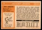 1972 O-Pee-Chee #77  Jacques Lemaire  Back Thumbnail