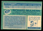 1976 O-Pee-Chee NHL #265  Richard Mulhern  Back Thumbnail