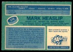 1976 O-Pee-Chee NHL #376  Mark Heaslip  Back Thumbnail