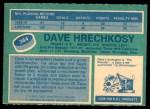 1976 O-Pee-Chee NHL #364  Dave Hrechkosy  Back Thumbnail