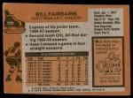 1975 Topps #109  Bill Fairbairn   Back Thumbnail