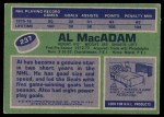 1976 Topps #237  Al MacAdam  Back Thumbnail