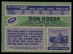 1976 Topps #185  Don Kozak  Back Thumbnail
