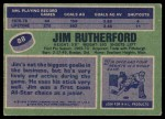 1976 Topps #88  Jim Rutherford  Back Thumbnail