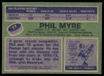 1976 Topps #17  Phil Myre  Back Thumbnail