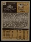 1971 Topps #82  Tom Janik  Back Thumbnail