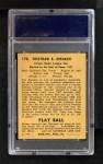 1940 Play Ball #170  Tris Speaker  Back Thumbnail